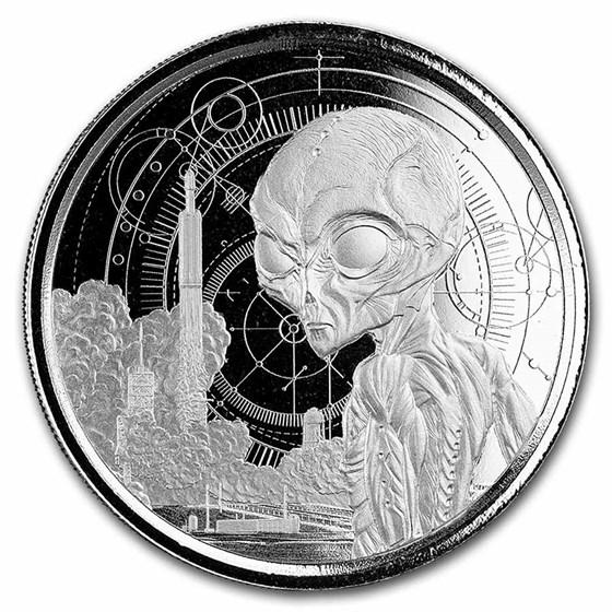 2021 Republic of Ghana 1 oz Silver 5 Dollar Space Alien BU
