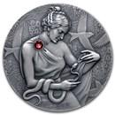 2021 Republic of Ghana 2 oz Silver Goddess of Health (Hygeia)
