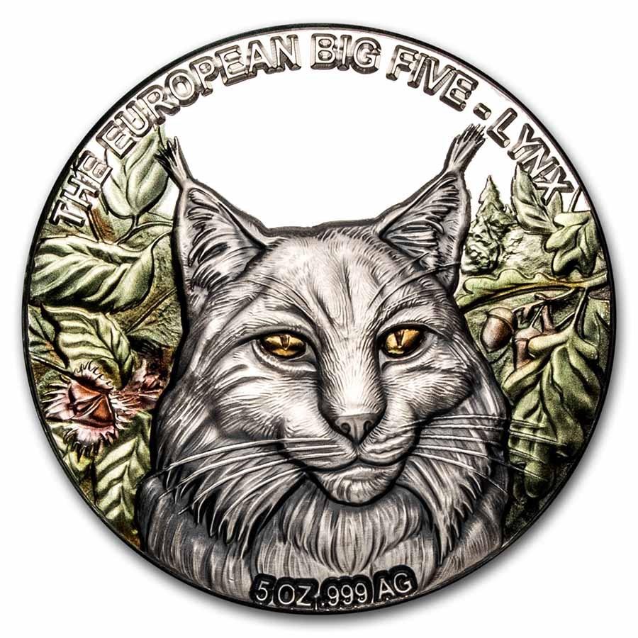2021 Republic of Ghana 5 oz Silver European Big Five: Lynx