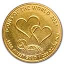 2021 Rwanda 1/200 oz Gold 10 Francs Icons Of The World (Hearts)