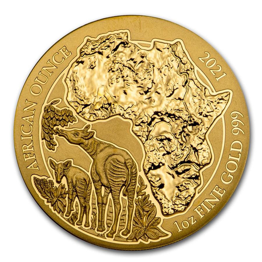 2021 Rwanda 1 oz Gold African Okapi BU