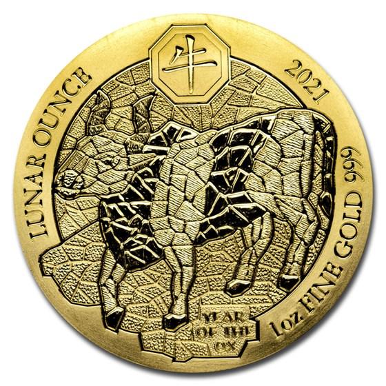 2021 Rwanda 1 oz Gold Lunar Year of the Ox BU