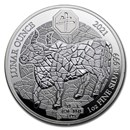 2021 Rwanda 1 oz Silver Lunar Year of the Ox Proof