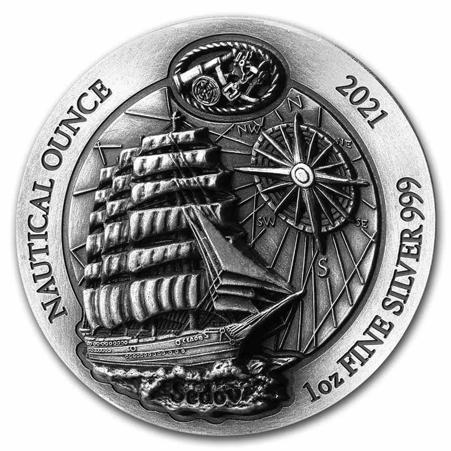 2021 Rwanda 1 oz Silver Nautical Ounce Sedov (HR, Antiqued)