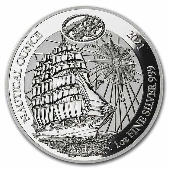 2021 Rwanda 1 oz Silver Nautical Ounce Sedov Proof