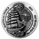 2021 Rwanda 3 oz Silver Nautical Ounce Sedov (HR, Antiqued)