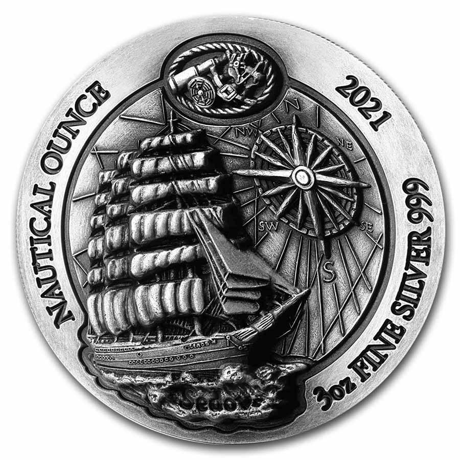 2021 Rwanda 3 oz Silver Nautical Ounce Sedov (HR) (Antiqued)