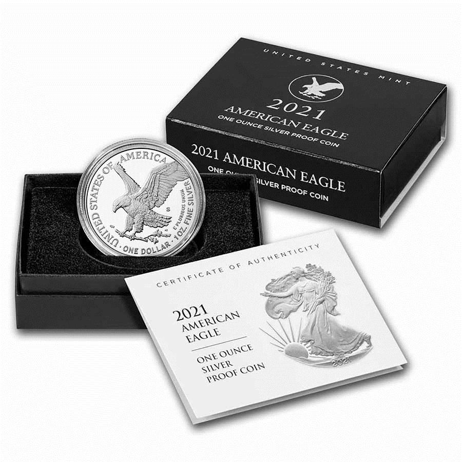 2021-S 1 oz Proof American Silver Eagle (Type 2) (w/Box & COA)