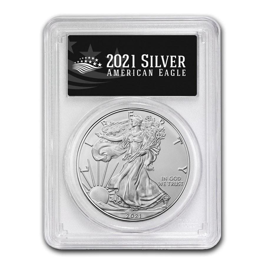 2021 (S) American Silver Eagle MS-70 PCGS (FDI, Black Label)