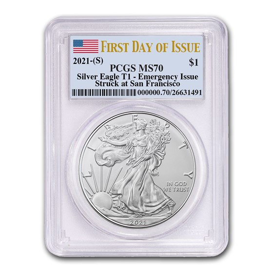 2021 (S) American Silver Eagle MS-70 PCGS (First Day of Issue)