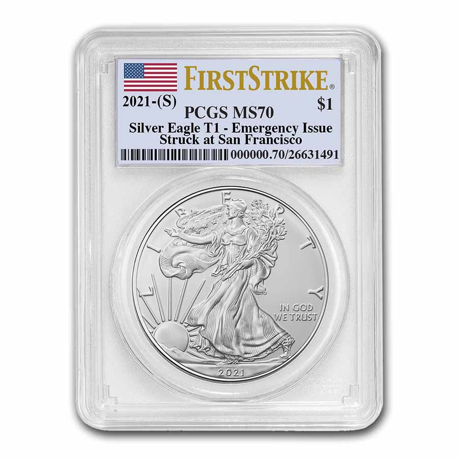 2021 American Silver Eagle MS-70 PCGS FirstStrike®, Black Label