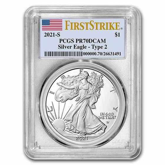 2021-S American Silver Eagle PR-70 PCGS (Type 2) (FirstStrike®)