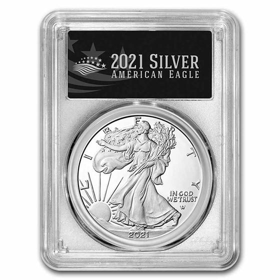 2021-S American Silver Eagle (Type 2) PR-70 PCGS (FDI, Black)