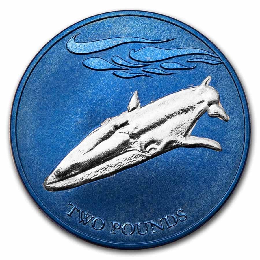 2021 S. Georgia & Sandwich Islands Bi-Color Titanium £2 Fin Whale