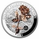 2021 Samoa 1 kilo Silver Golden Flower Collection: Rose