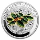 2021 Samoa 1 oz Silver Enamel Flower Collection: Holly