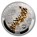 2021 Samoa 1 oz Silver Golden Flower Collection: Orchid
