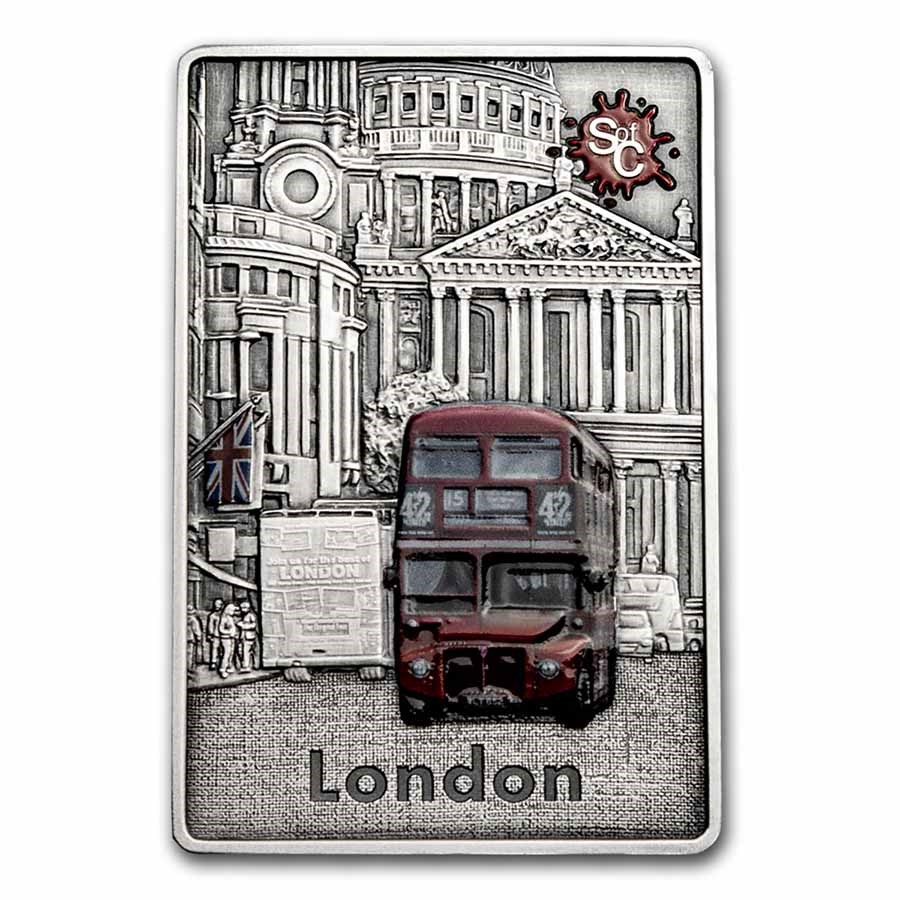 2021 Samoa 2 oz Silver Antique Splash of Color: London