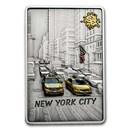 2021 Samoa 2 oz Silver Antique Splash of Color: New York City