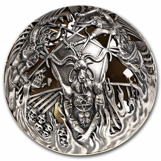 2021 Samoa 2 oz Silver Heaven and Hell Sphere Coin
