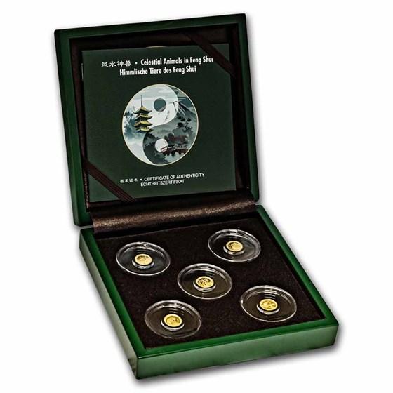 2021 Samoa 5-Coin Gold Feng Shui Celestial Animals Set