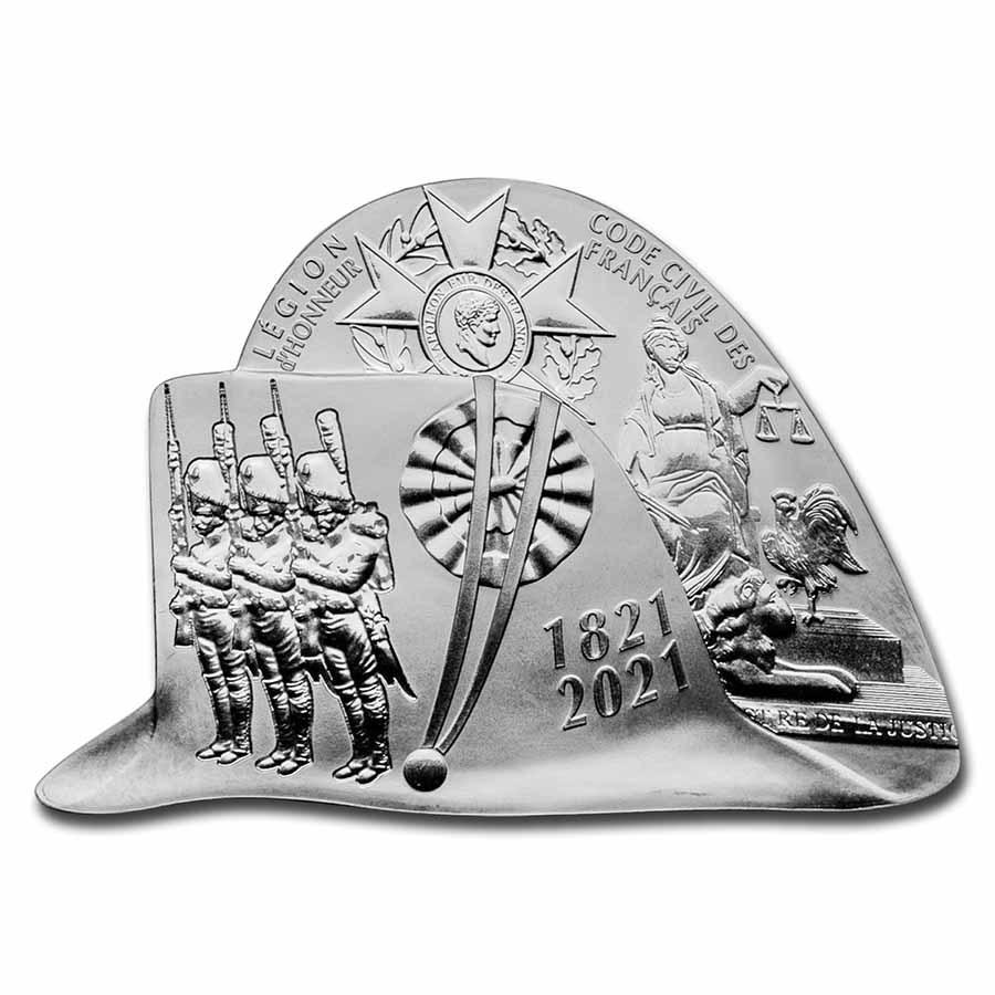 2021 Silver €10 Napoleon's Passing Away Proof (Bicorn Shape)