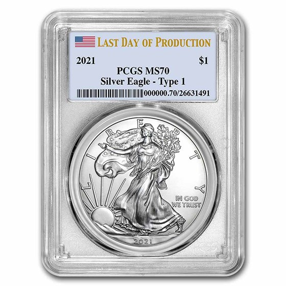 2021 Silver Eagle (Type 1) MS-70 PCGS (Last Day of Production)