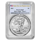 2021 Silver Eagle (Type 2) MS-69 PCGS (First Day of Production)