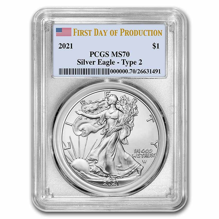 2021 Silver Eagle (Type 2) MS-70 PCGS (First Day of Production)