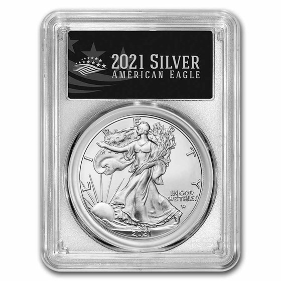 2021 Silver Eagle (Type 2) MS-70 PCGS (First Production, Black)