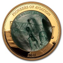 2021 Solomon Isl 5 oz Gold Mother of Pearl Pioneers of Aviation