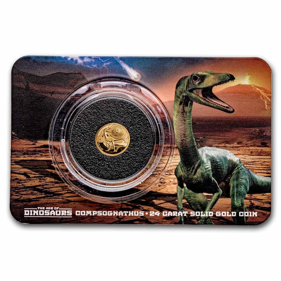 2021 Solomon Islands 1/2 gm Gold Age of Dinosaurs: Compsognathus