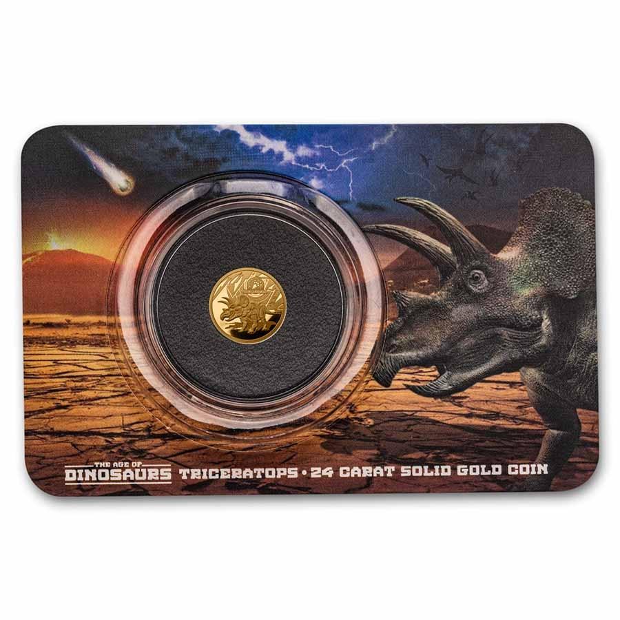 2021 Solomon Islands 1/2 Gram Gold Age of Dinosaurs; Triceratops