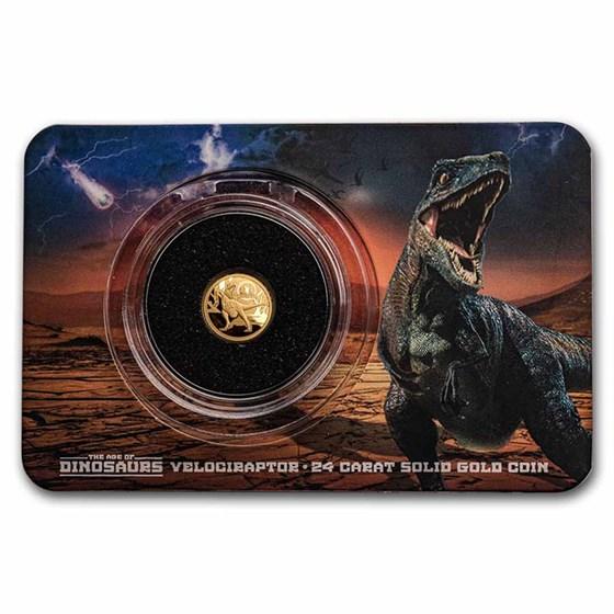2021 Solomon Islands 1/2 Gram Gold Age of Dinosaurs; Velociraptor