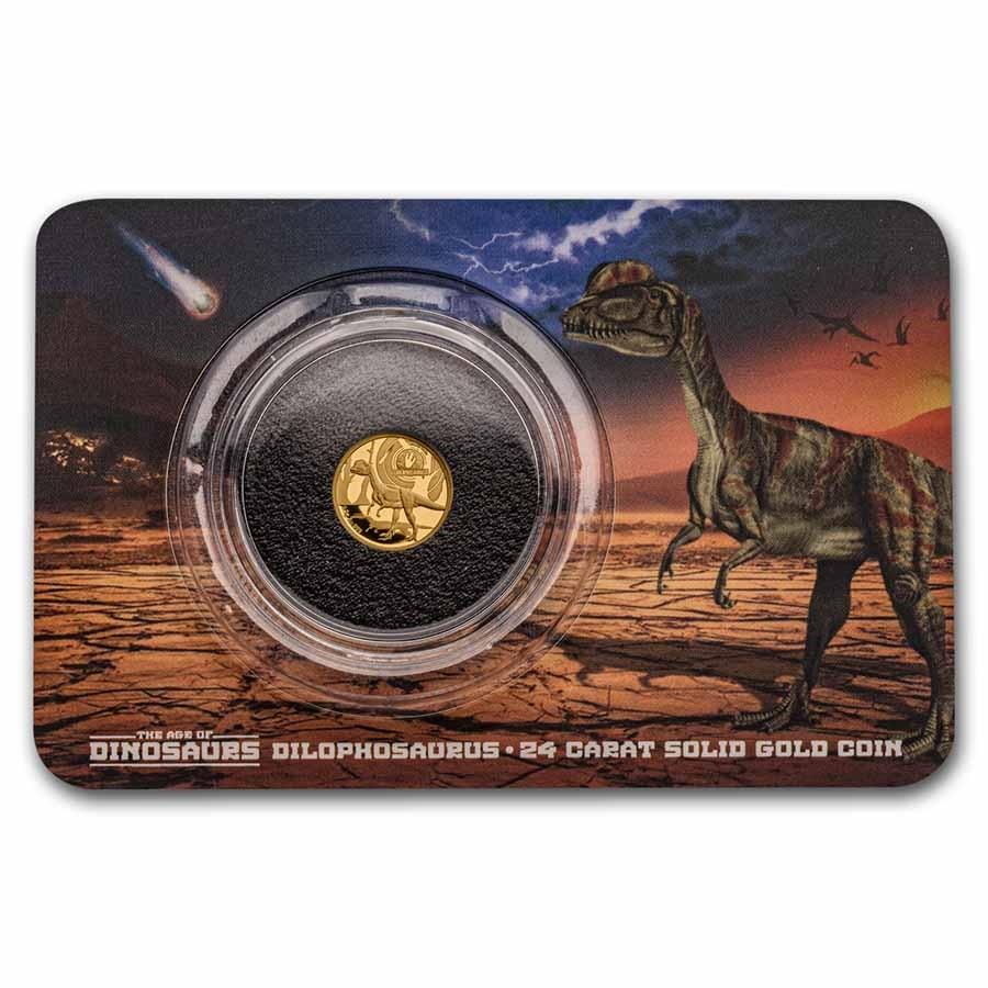 2021 Solomon Islands 1/2 Gram Gold Age of Dinosaurs;Dilophosaurus