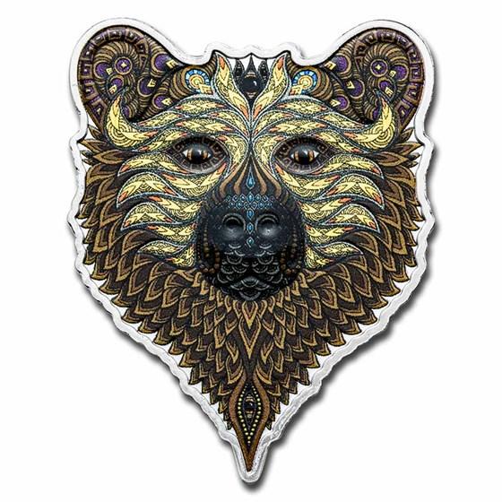 2021 Solomon Islands 1 oz Ag $2 Spirit Animals: Grizzly Bear
