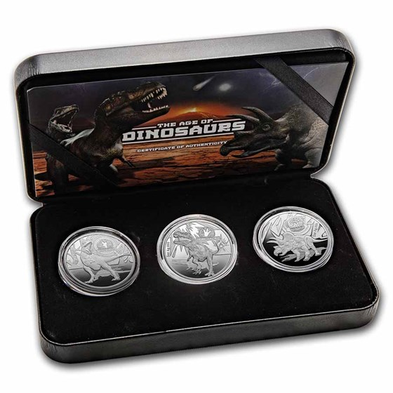 2021 Solomon Islands 3-Coin Silver Dinosaurs Proof Set