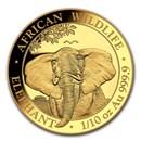 2021 Somalia 1/10 oz Gold African Elephant BU