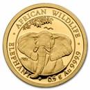 2021 Somalia 1/2 Gram Gold Elephant Coin BU
