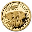 2021 Somalia 1/25 oz Gold Elephant Coin BU