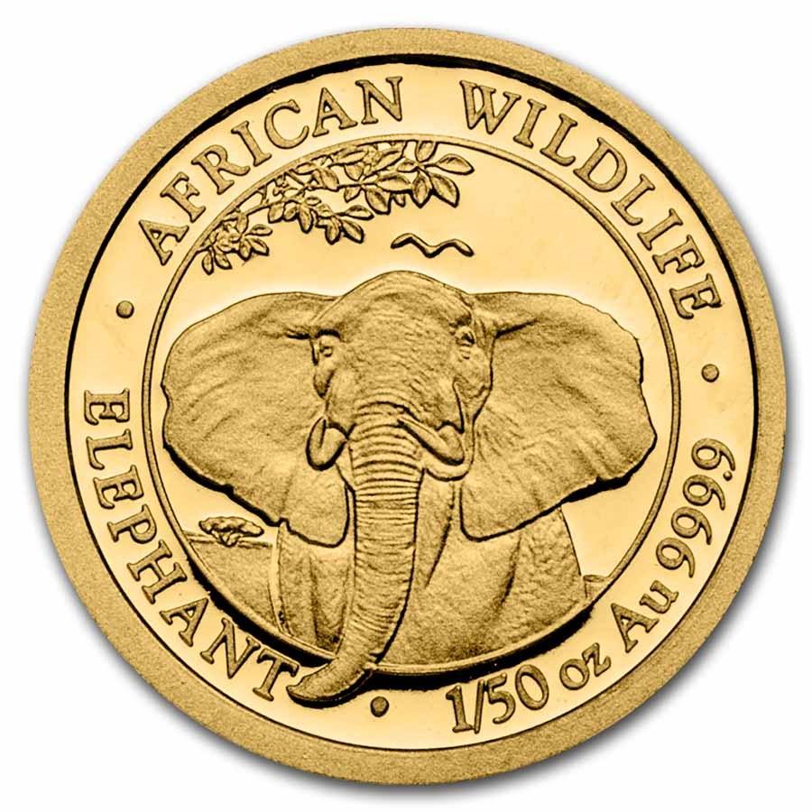 2021 Somalia 1/50 oz Gold Elephant BU