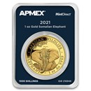 2021 Somalia 1 oz Gold African Elephant (MintDirect® Single)