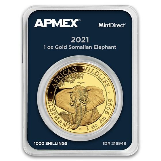 2021 Somalia 1 oz Gold African Elephant (MintDirect® Single)