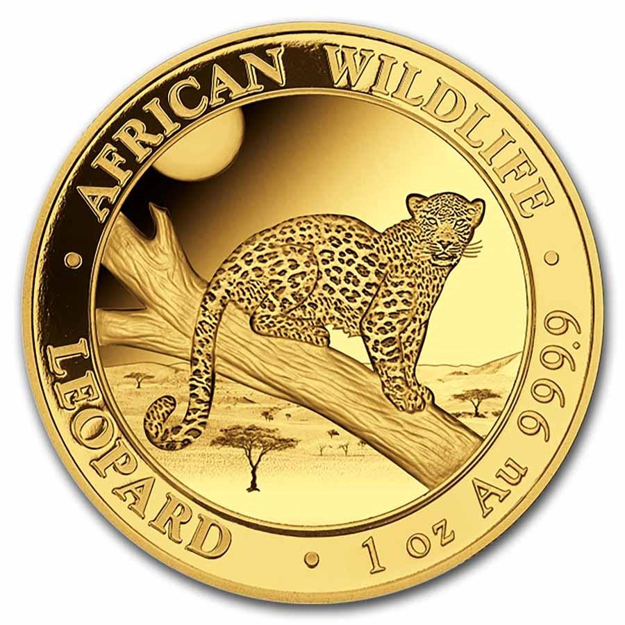 2021 Somalia 1 oz Gold African Wildlife Leopard BU