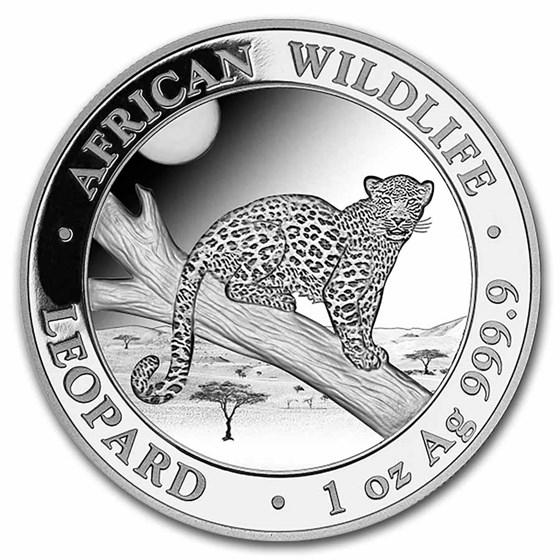 2021 Somalia 1 oz Silver African Wildlife Leopard BU