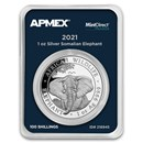 2021 Somalia 1 oz Silver Elephant (MintDirect® Premier Single)