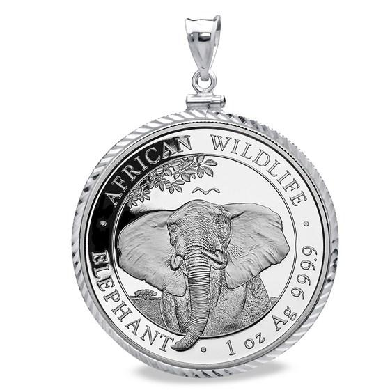 2021 Somalia 1 oz Silver Elephant Pendant (Diamond-Cut Screw-Top)