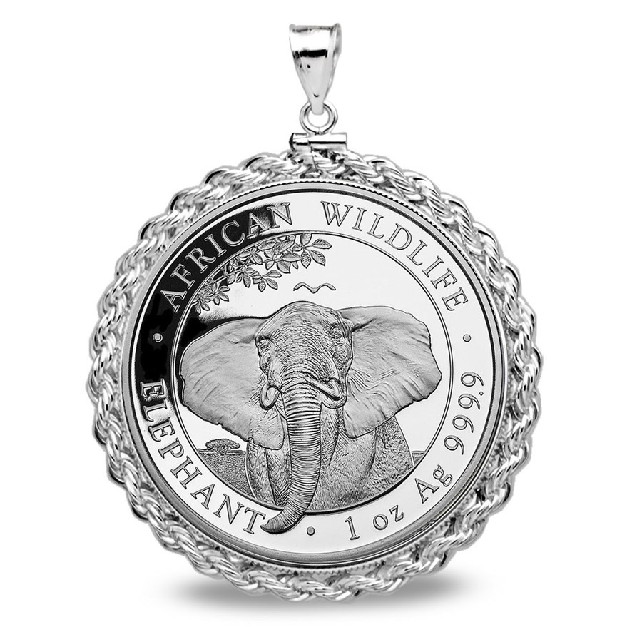2021 Somalia 1 oz Silver Elephant Pendant (Rope Screw-Top)
