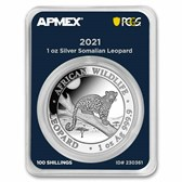 2021 Somalia 1 oz Silver Leopard (MD® Premier + PCGS FS)