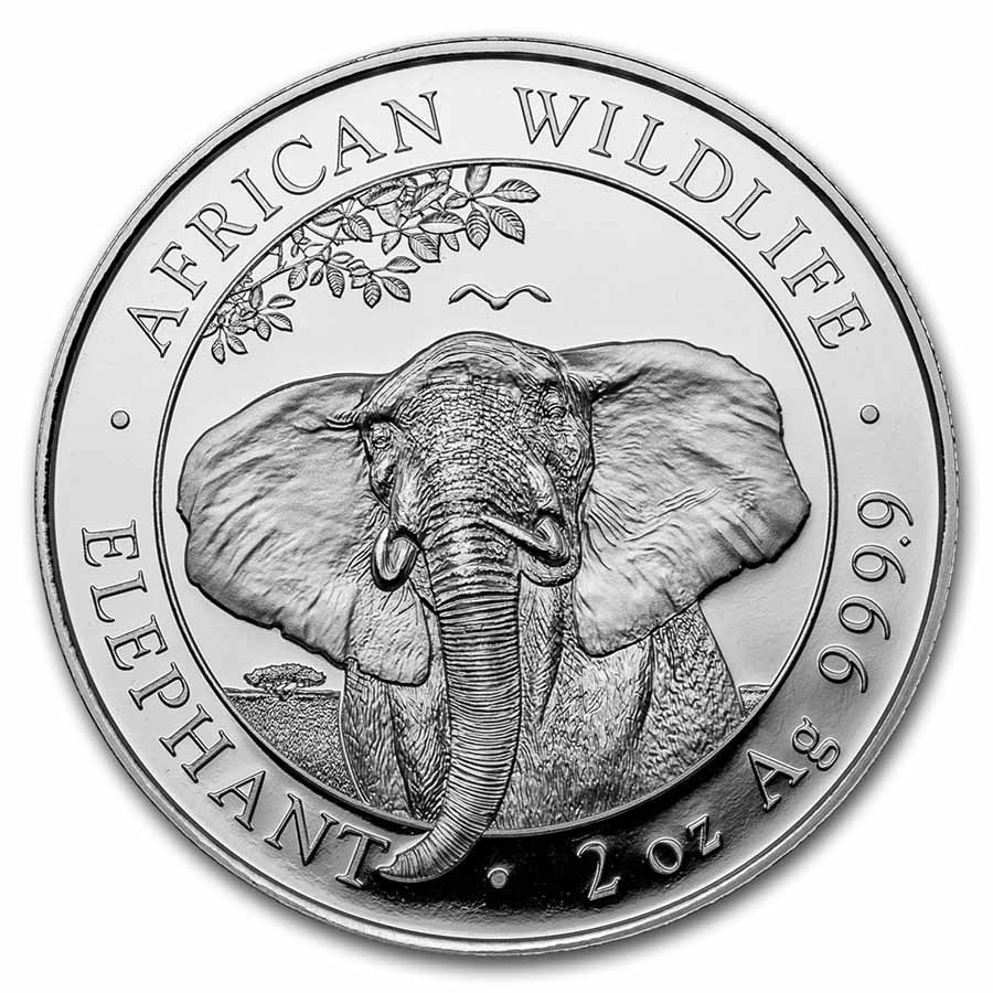 2021 Somalia 2 oz Silver Elephant BU